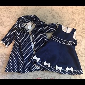 Navy Polka Dot Dress & Coat - 24 Months